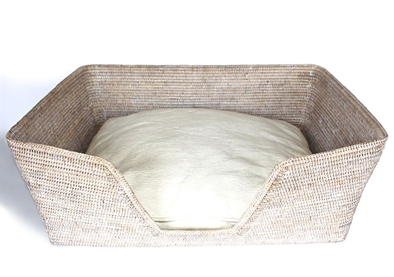 Rattan Dog Bed - White Wash