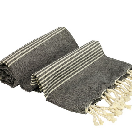 Turkish Towel - Thin Stripes on Black