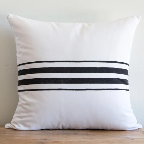 Sugar Feather - Outdoor Frenchie Stripe Pillow