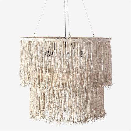 JE Fringe Drum Chandelier with Leather Tassles