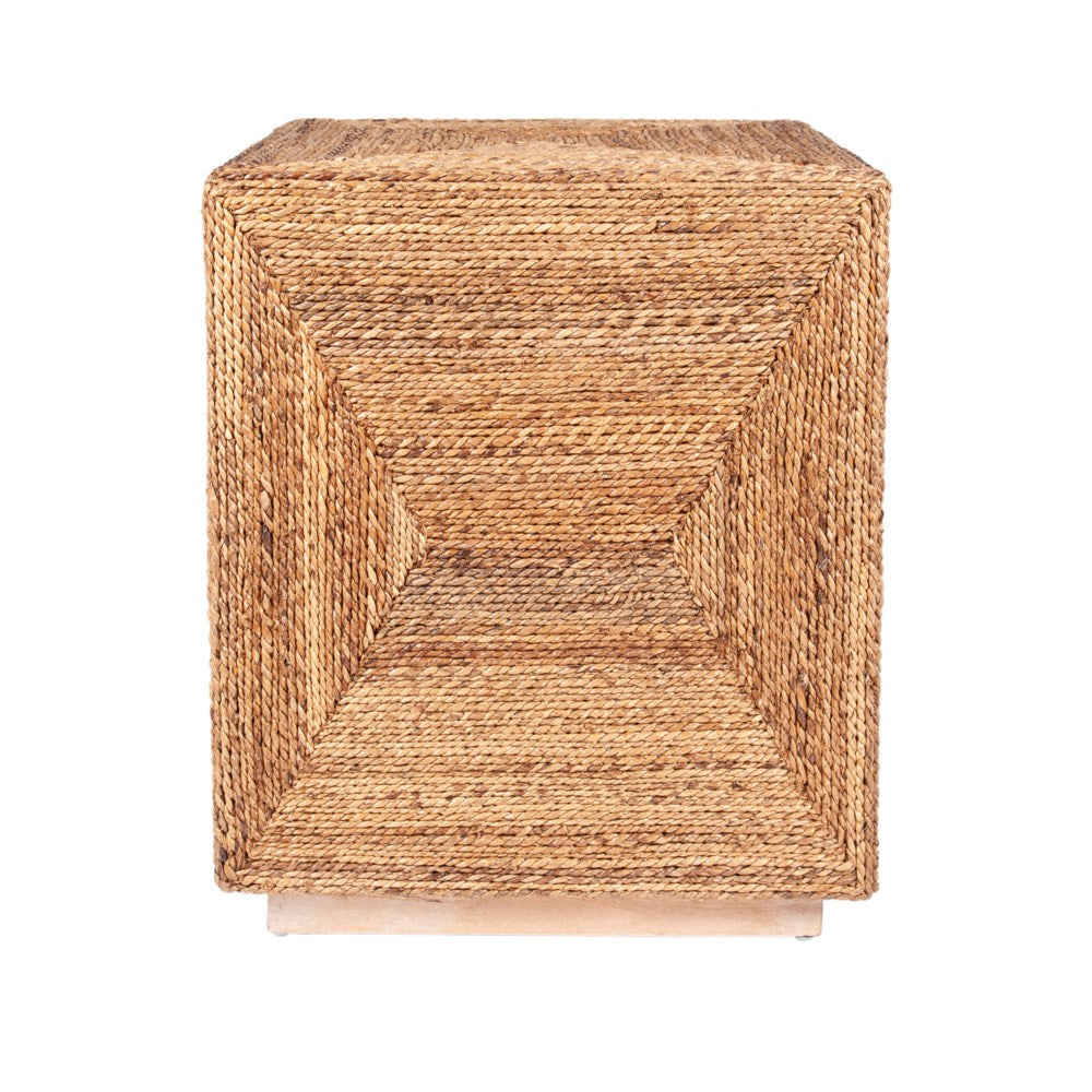 JE Braided Seagrass Cube Accent Table
