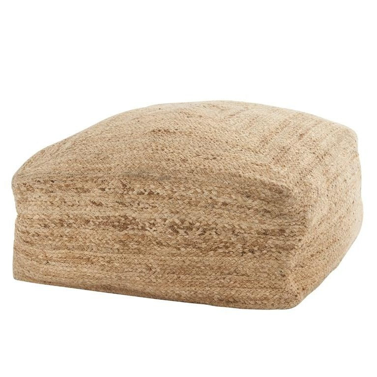 Square Jute Braided Pouf
