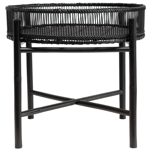 Bamboo Slatted Tray Table Black