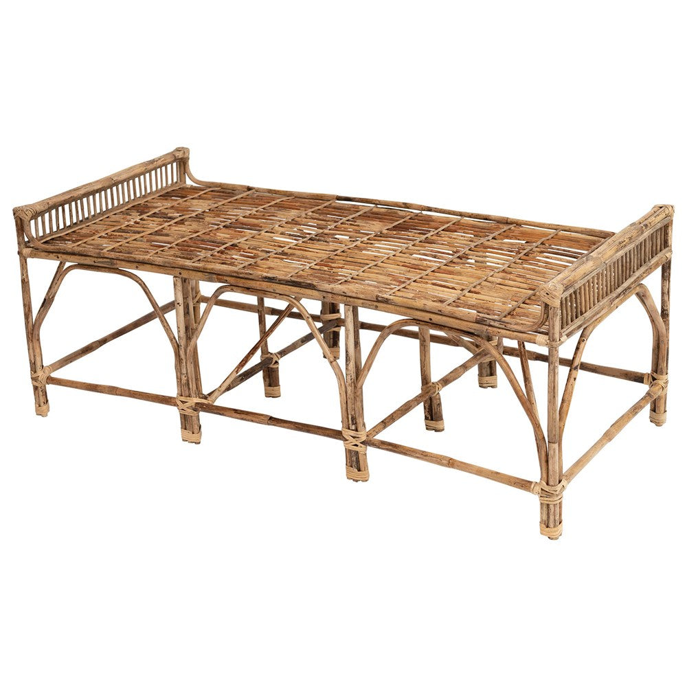 Natural Cane Wood Bench