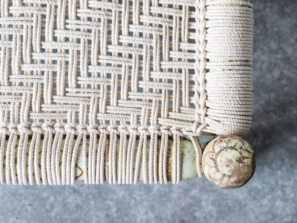 Wood & Woven Cotton Rope Bench