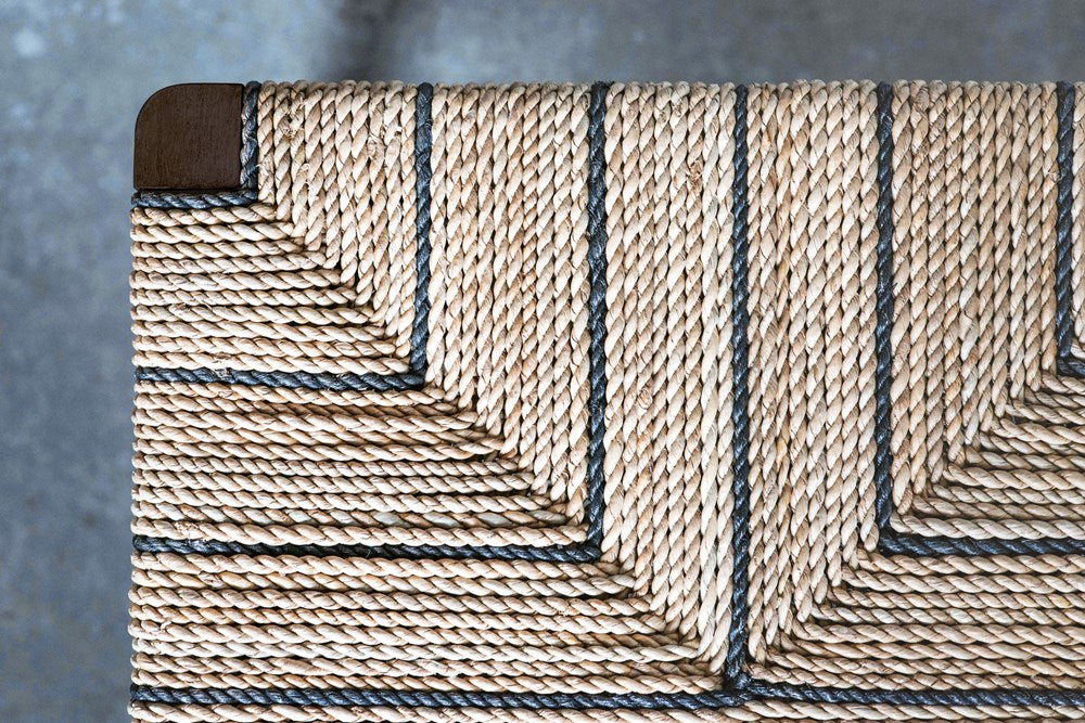 Woven Rope and Wood Bench