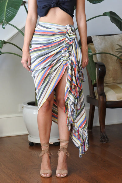 Just Bee Queen Tulum Skirt Multi Bright Stripe