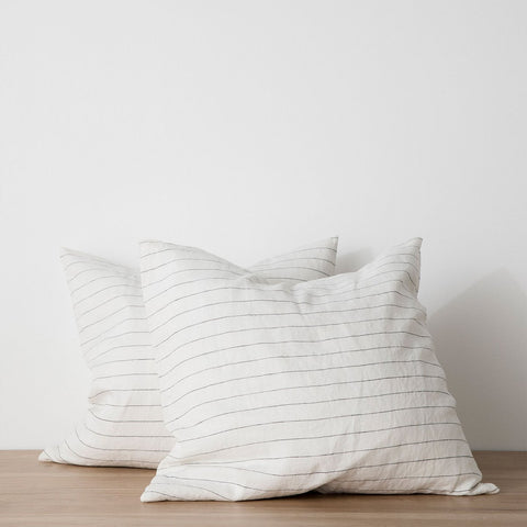 Set of 2 Linen Euro Pillowcases - Pencil Stripe