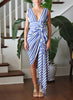 Just Bee Queen Tulum Dress Royal Blue Stripe
