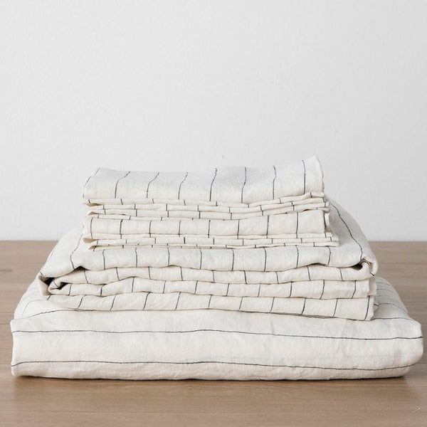 Linen Sheet Set With Pillowcases - Pencil Stripe