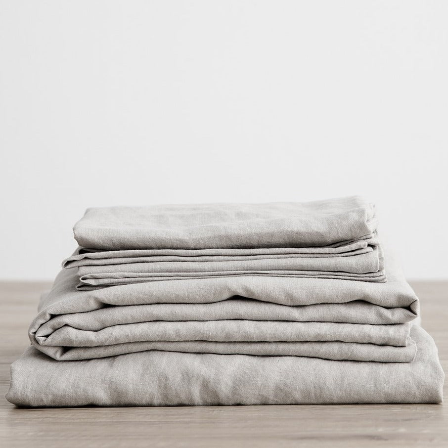 Linen Sheet Set With Pillowcases - Smoke Gray