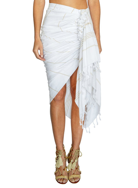 Just Bee Queen Tulum Skirt White Beige