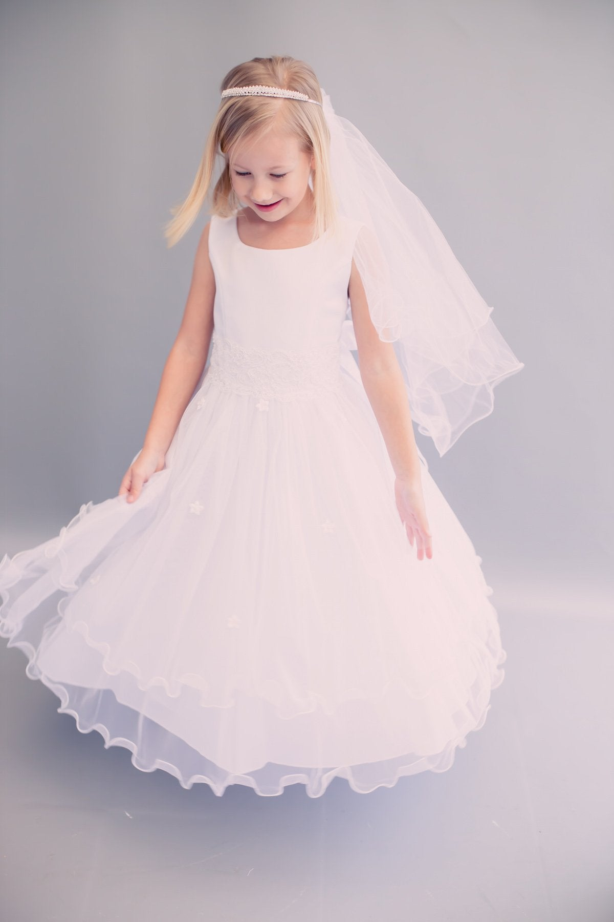Lace Trim Long Tulle Dress