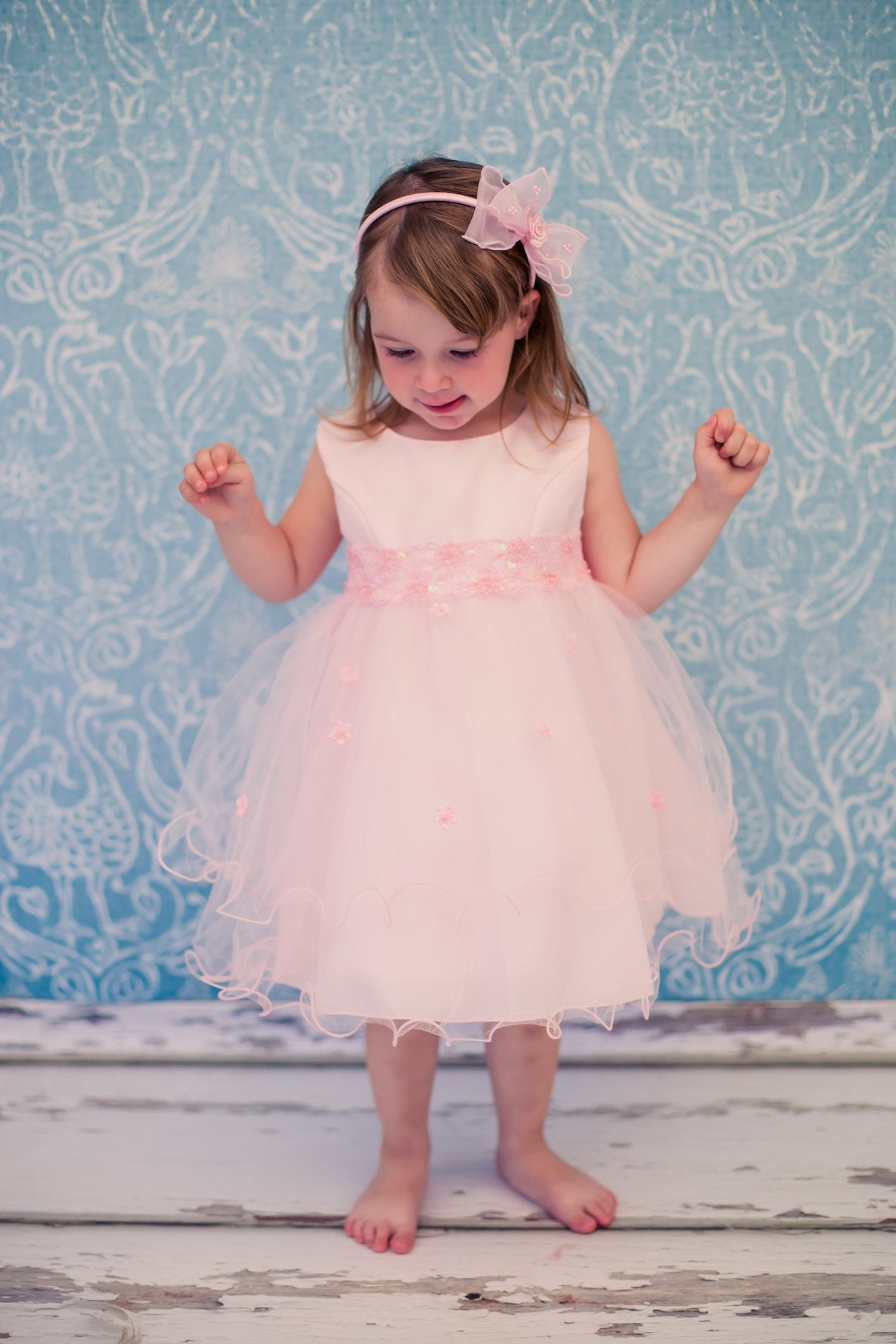 Lace & Beads Trim Baby Dress