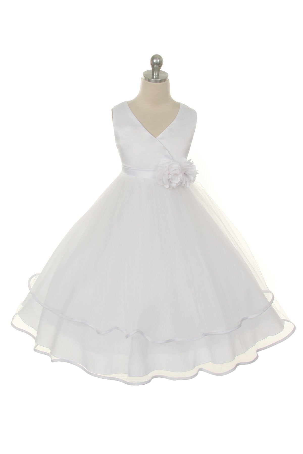 Criss Cross Layered Satin Communion Dress
