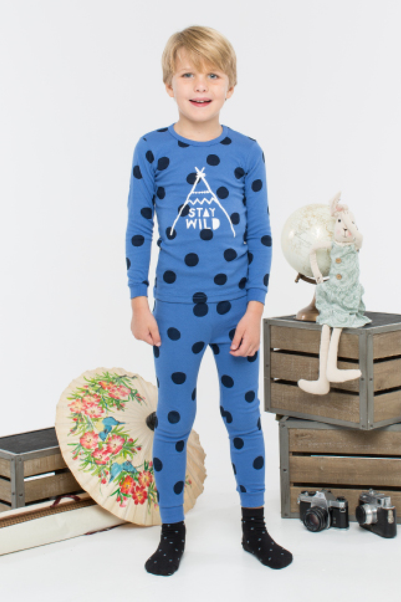 30s Cotton Count - Lightest Pajamas - Stay Wild Child (Blue)