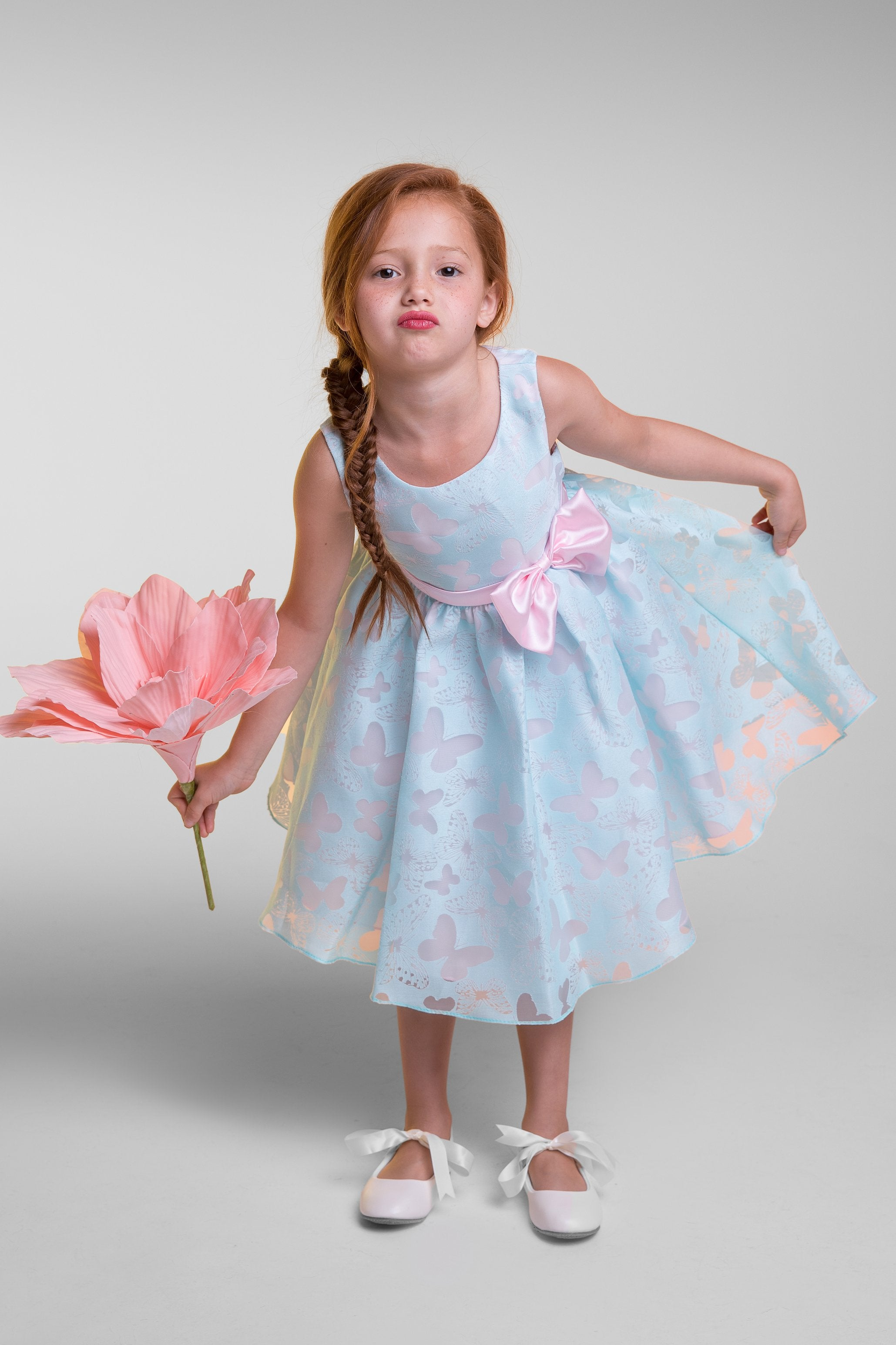 Butterfly Burnout Organza Girl Dress