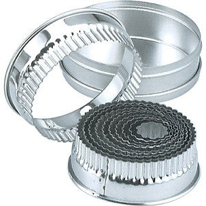 Cutter Set- Small Round Stainless Steel Crinkled 11Pc