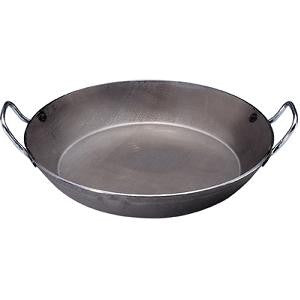 Paella Pan-1.5mm Black Steel 400mm 2 Hdl