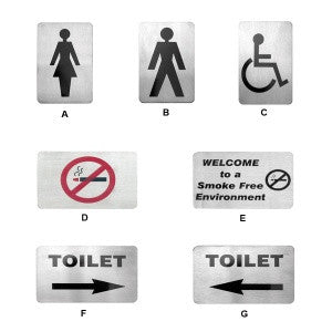 Wall Sign-Stainless Steel 120X80mm Toilet Wt Left Arrow