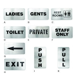 Wall Sign-Stainless Steel 110X60mm Gents