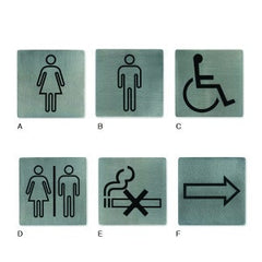 Wall Sign-Stainless Steel 130X130mm Restrooms