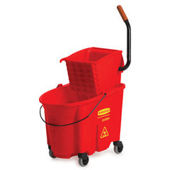 Rubbermaid Red Wavebrake Side Press Mop Bucket & Wringer Combo 33.1L