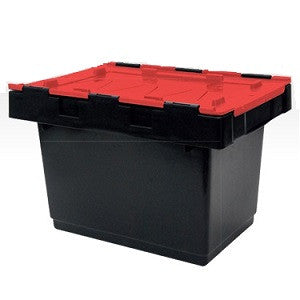 AP34-BKRD Security Crate 34L Black w/Red Lid Food Grade