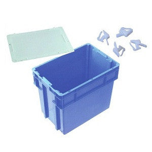 Nally IH2750-BL Series 2000 78L Solid Crate + Lid + Clips