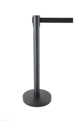 Crowd Control Bollards - Retractable Posts- Black Post Black Belt