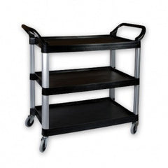 Economy Trolley/Cart-Plastic Large 3-Tier Black