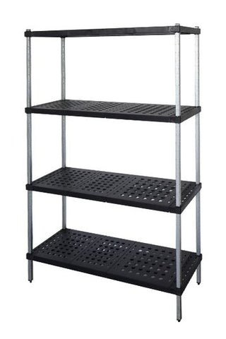 Mantova Zinc & Lacquer Shelving with ABS Real Tuff Single tier 900 x 600mm