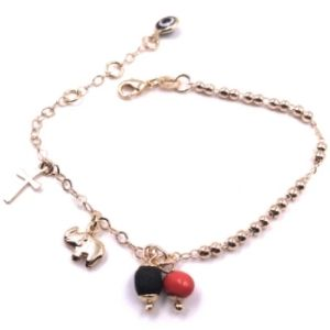 Simple Chain 18K Gold Plated Protection Azabache Bracelet for Women