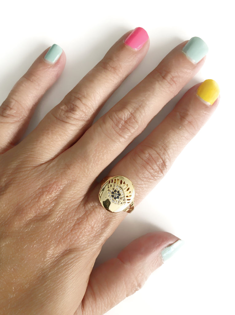 Gold Plated Evil Eye Adjustable Cubic Zirconia Ring