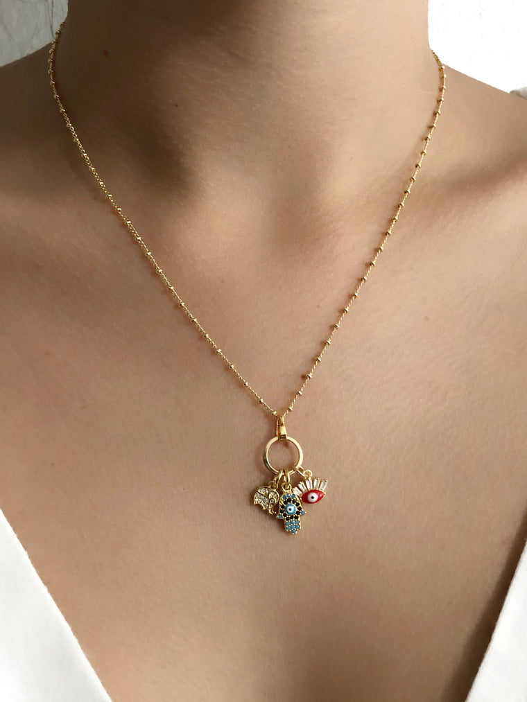 Multi Charm Good Luck Chain Necklace, Evil Eye, Hamsa and Elephant Pendants