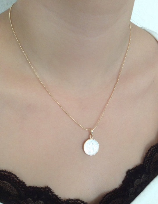 Mother of Pearl San Benito Pendant Gold Plated Ball Chain 17.2""