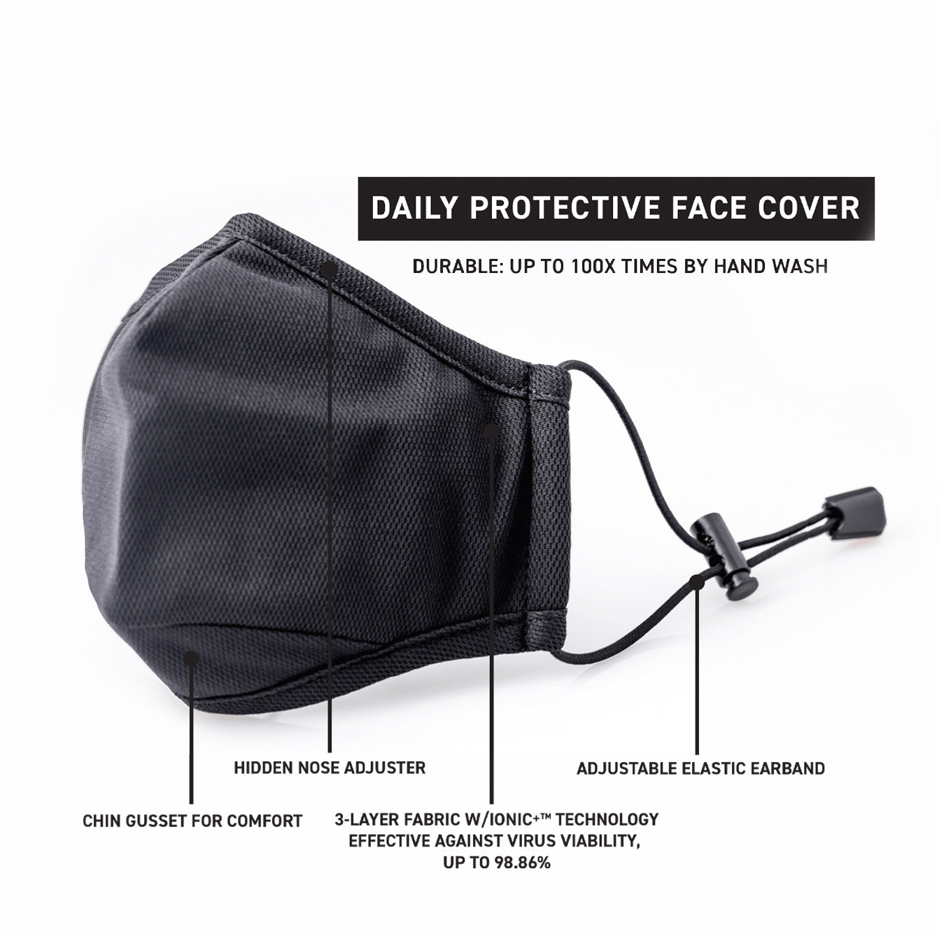 Face Mask for Protection. Effective Face Cover for Men, Breathable, Adjustable, Soft, Washable, Reusable, Comfortable for Workouts and other Exercises, with Odor Control