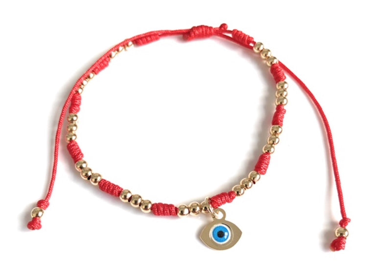 Evil Eye Red String Bracelet Adjustable