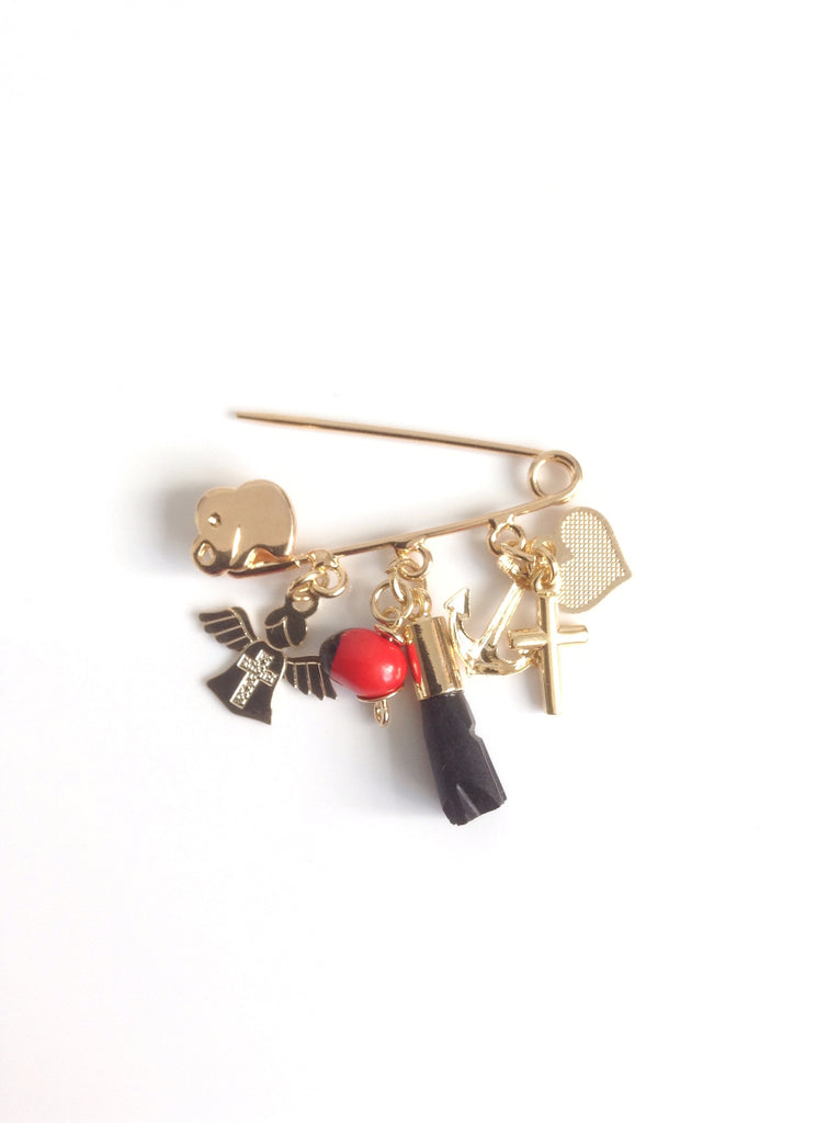 Azabache y peonia charm Baby Brooch - Angel Pin - Jet stone Newborn Gift - Baby Shower - Protector Gift - Mal de Ojo