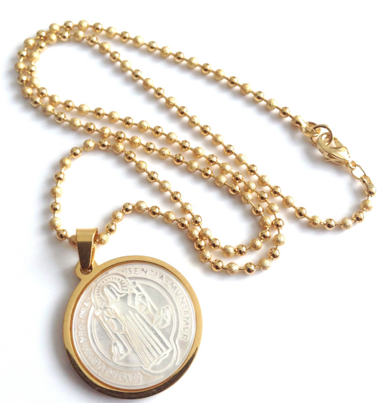 Saint Benedict Stainless Steel Gold Plated & Mother of Pearl Pendant