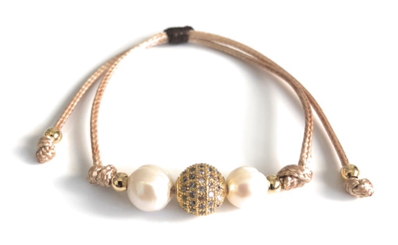 Fire Ball Woven Beige Bracelet Charm Pearls
