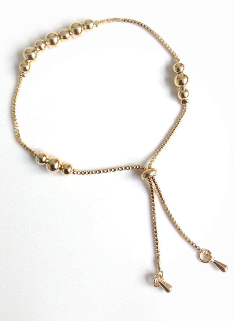 Bolo bracelet gold toggle slide chain