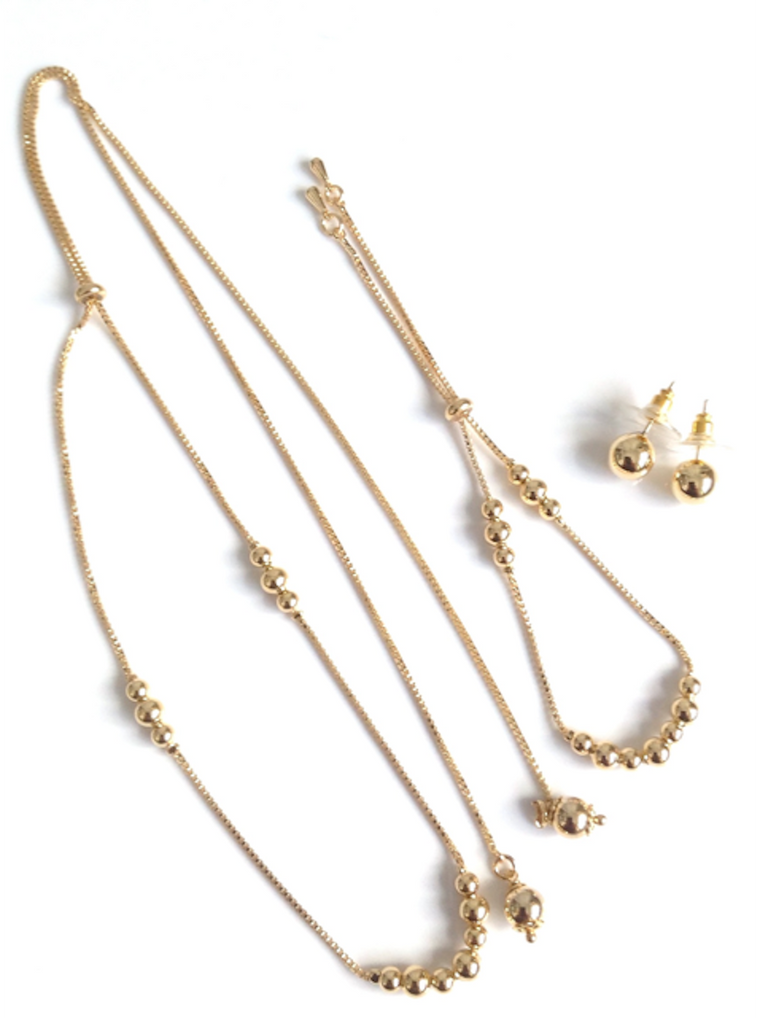 Gift sets for women - Christmas Necklace set gold earring studs