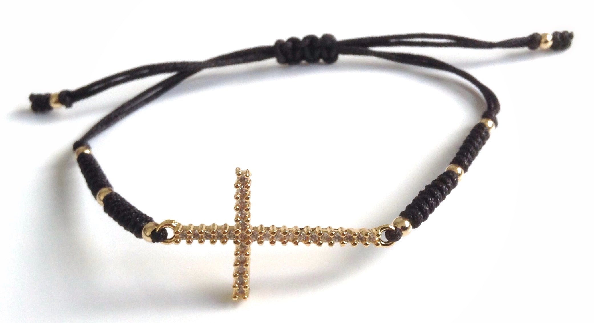 Gold Crucifix Macrame Bracelet Catholic Jewelry