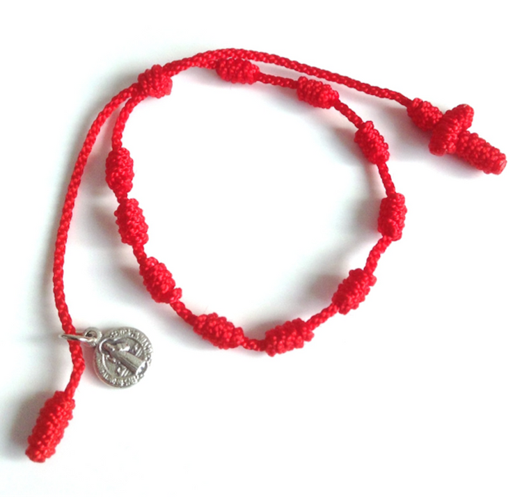Saint Benedict Mini Rosary Red Bracelet