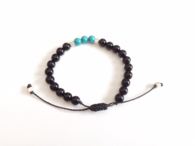Mens Bracelet 8mm howlite turquoise black onyx bracelet, men black bead bracelet, gemstone bracelet black bracelet men jewelry, gift for him