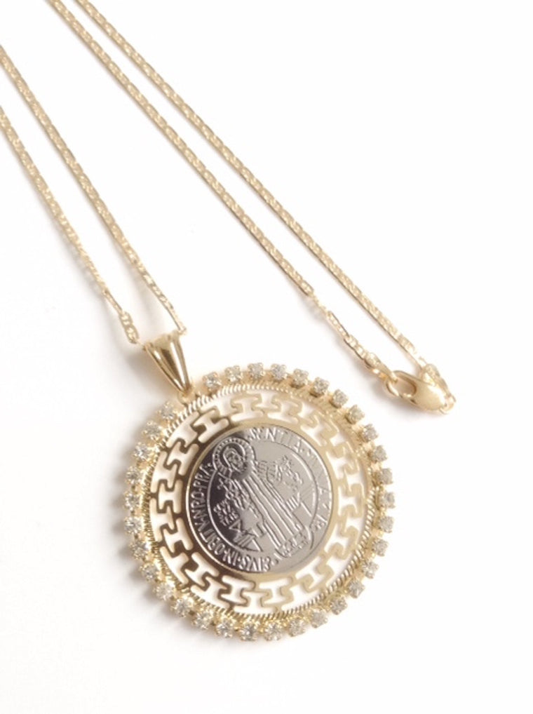 Rhinestones St. Benedict Medal Necklace Flat Gold Plated Chain - San Benito Necklace - Medalla San Benito