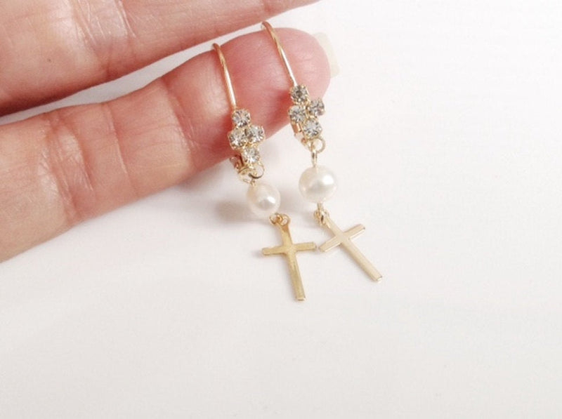Leverback Earrings, Rhinestone Lever back pearl cross earrings, bridal earrings, Wedding Earrings, Bridal Jewelry, Gold leverback earrings