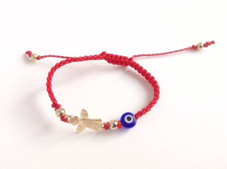 Newborn protection bracelet guardian angel charm - Mal de ojo bracelet - Red String baby bracelet