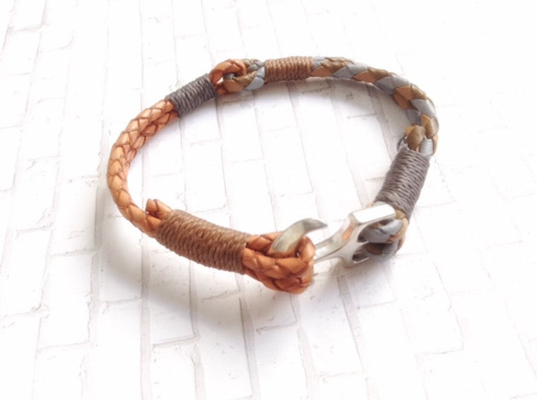 Anchor Bracelet for men - Leather Wrap Nautical Bracelet - Pulsera Hombre